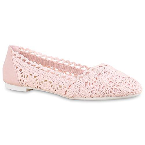 stiefelparadies Damen Ballerinas Spitze Schleifen Flats Vintage Slipper Ballerina Sommer Schuhe 137528 Rosa Strick 39 Flandell