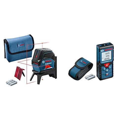 Bosch Professional Kreuzlinienlaser GCL 2-15 (roter Laser, Arbeitsbereich: 15 m, 3x AA Batterien) & Laser Entfernungsmesser GLM 40 (max. Messbereich: 40 m, 2x 1,5-V Batterien)