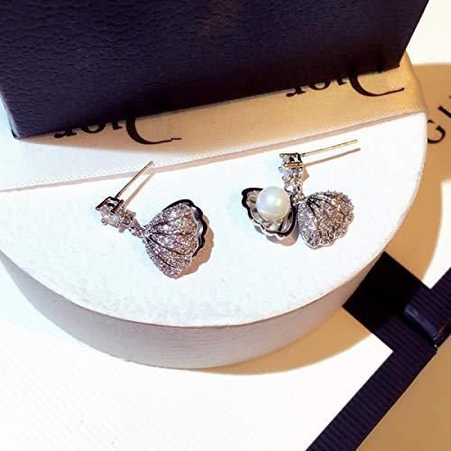 FEARRIN Pendientes Colgantes de Plata esterlina de Lujo Pendiente de Concha Natural Perla Pendientes geométricos Perno Prisionero para Mujer Chica Regalos de Fiesta de Boda Joyería de Plata