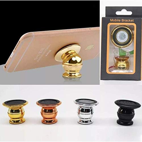 SSM'S Car Mobile Phone Ball Head Magnetic Holder Golden Colour|Car Mobile Phone Mount|Smartphone High Magnetic Power 360 Degree Adustable for Taking Magic Videos Shots and Photos.