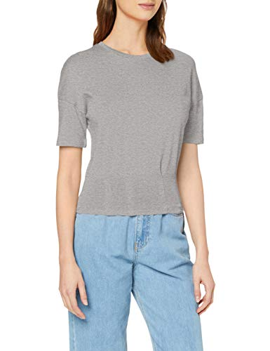 Marca Amazon - find. Camiseta con Cuello Redondo Mujer, Gris (Grey Marl), 36, Label: XS