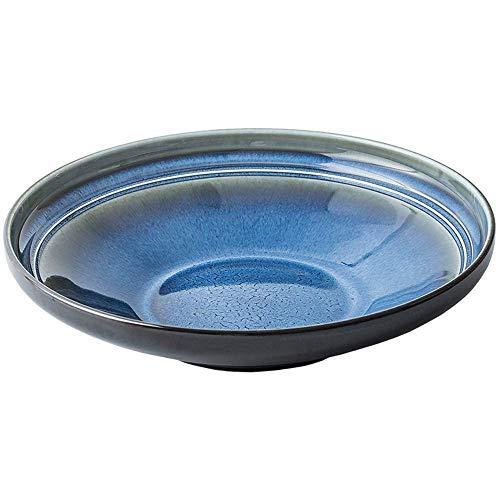 XUSHEN-HU cerámica Placa Occidental Rectangular pequeña Placa fría Plato Snack-Placa de la Torta de la Placa Restaurante Hotel Vajilla Personalidad Horno Azul 22X3.8Cm Clásico