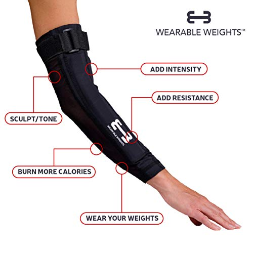 Wearable Weights Weighted Black Workout Compression Arm Sleeves (Medium, 1.5lbs Each)