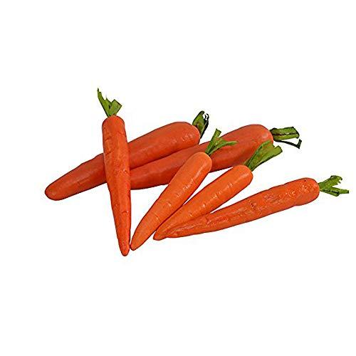 Nubstoer Paquete de 6 zanahorias artificiales de imitación de zanahorias con hojas y zanahorias artificiales para decoración del hogar