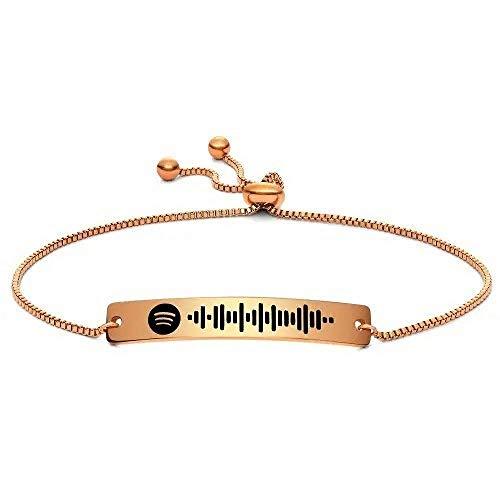 Spotify Song Code Pulsera Oro-Plata-Oro-Rosa Música Spotify Code Pulsera Charm Personalizado Aniversario Boda Cumpleaños Día de San Valentín Idea de regalo para Novia Mujeres Hombres-Oro rosa