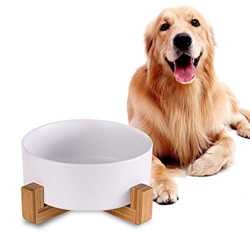 Weiß Keramik Hund Futternapf mit Bambus Ständer,Rutschfest Nicht Verschüttet Hundefressnapf und Wassernapf,Extra große Kapazität Haustier Futternapf-1800 ML,Schwerer Hundenapf für Grosse Hunde