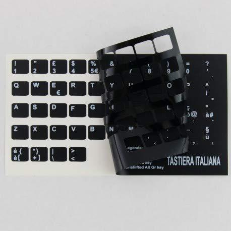 StickersLab - Adesivi lettere tastiera Italiano fondo nero lettere bianche (9,6mm x 11,5mm)