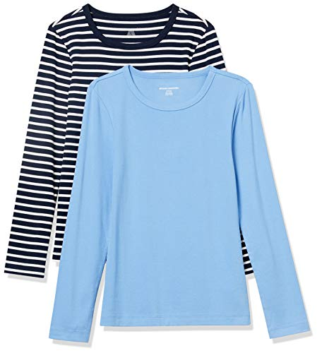 Amazon Essentials Women's 2-Pack Slim-Fit Long-Sleeve Crewneck T-Shirt, Navy Stripe/French Blue, Small