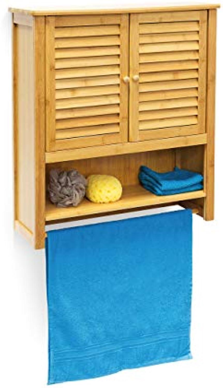 Relaxdays Hngeschrank LAMELL Bambus HBT  66 x 60 x 20 cm Badschrank zum Hngen mit Handtuchhalter Badezimmerschrank mit 2 Türen und Regalfach Bad Schrank als Oberschrank Badhngeschrank, natur