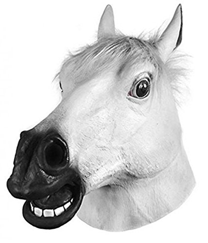 Miyaya Horror Scary White Horse Head Mask for Halloween,Masquerade,Carnival,Christmas,Easter or Any Other Parties