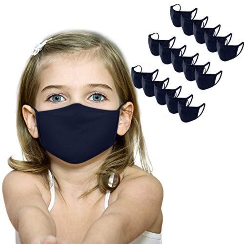 PPangUDing 12/15 Stück Baumwolle Mundschutz Kinder Waschbar Wiederverwendbar Atmungsaktive Staubdicht Einfarbig Bandanas Halstuch Multifunktionstuch für Jungen und Mädchen