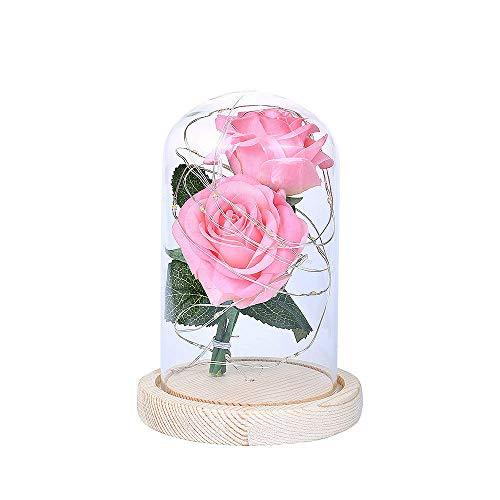 Panjzylds - Flores inmortalizadas para el día de la madre (2) rosa con luz LED de cristal para decoración de rosas adecuadas para regalo de San Valentín