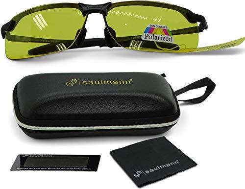 Saulmann® Polarisierte Nachtsichtbrille, UV-Schutz, Blendschutz Nachtfahrbrille zum Autofahren, Ultraleichtes Metal-Gestell – SM6781