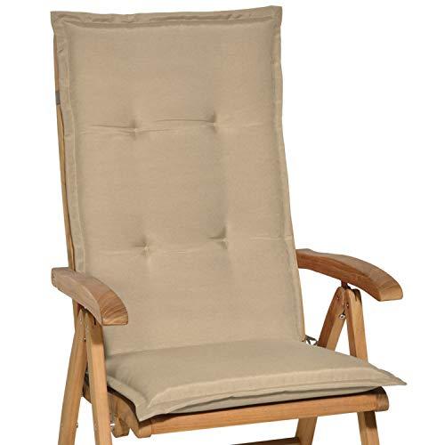 Beautissu Loft HL - Cojín para sillas de balcón o Asiento Exterior con Respaldo Alto - 120x50x6 cm - Placas compactas de gomaespuma - Natural ✅