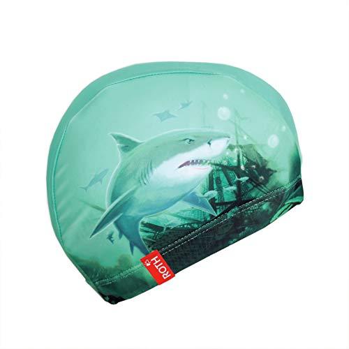 ROTH Badekappe aus Stoff für Kinder von 4-9 Jahren, Jungen-Motiv 'Hai mit Krake' - hellblau