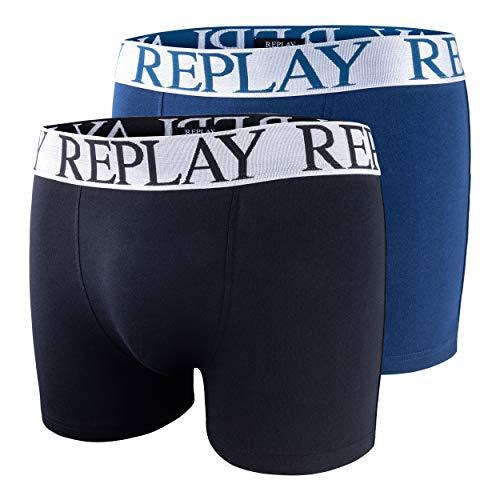2er Set Boxershorts Herren Replay Unterhose eng anliegend I101017 (S, Dark Grey Black/Dark Blue/Silver)