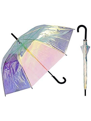 RainStoppers Regenschirm, irisierend, transparent, 116,8 cm, mit Hakengriff