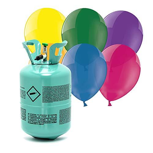 DekoHaus Bombona de helio para globos y 30 globos de cristal para...
