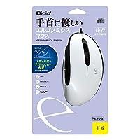 Digio2 エルゴノミクス マウス 有線 静音 5ボタン BlueLED ホワイト MUS-UKF171W