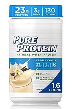 Pure Protein Powder Natural Whey High Protein Low Sugar Gluten Free French Vanilla 1.6 lbs