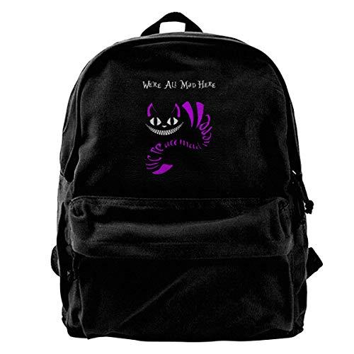 Canvas Rucksack Alice im Wunderland Grinsekatze Rucksack Gym Wandern Laptop Schultertasche Daypack für Männer Frauen