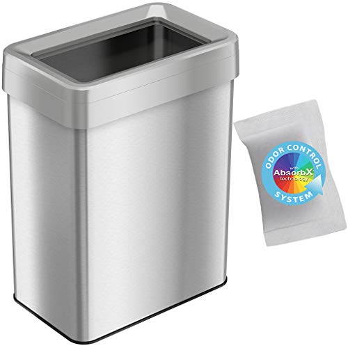 iTouchless OT18RTS 18 Gallon Dual-Deodorizer Open Top Trash Can Rectangular Shape, Commercial Grade Stainless Steel, 68 Liter Recycle Bin, Silver,