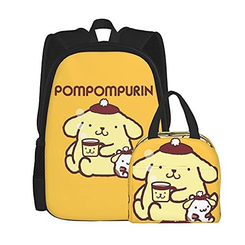 Pompompurin Anime Mochila y bolsa de almuerzo con caja desmontable (tamaño único)
