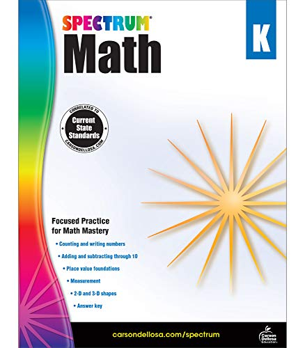 Spectrum Math Kindergarten Workbook—Addition and Subtraction Mathematical Learning With Examples, Tests, Answer Key for Homeschool or Classroom (96 pgs)