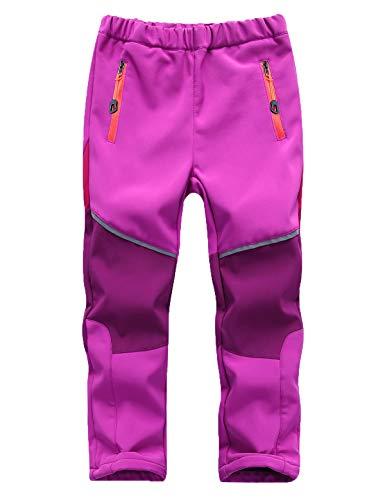 Echinodon Kinder Softshellhose Gefüttert Hose Wasserabweisend Winddicht Atmungsaktiv Jungen Mädchen Outdoor Wandern Freizeit Hose Herbst Winter Violett M