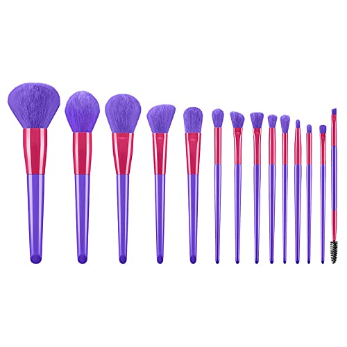 Poachers 14 Pcs Makeup Brushes for Women Candy Color Super Sweet Set Eye Shadow Brush Mascara Foundation Blending Face Cream Powder Buffing Blush Liquid Mineral Concealers Cosmetics Kits Tools