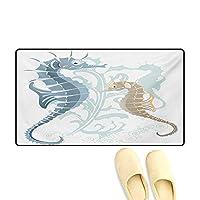"""バスマット フクロウの絵 ロマンチックなエレメントの矢印 芸術的デザイン 屋外ドアマット レッド ホワイト 20""""x32"""" (W50cm x L80cm)"""