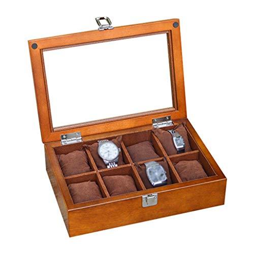 LIYFF-Uhrenbox 8-Slot Watch Display-Aufbewahrungsbox mit Zubehörfach Weiches Innenfutter mit 8 herausnehmbaren Kissen, Metallschließe mit Glasverschluss, braun