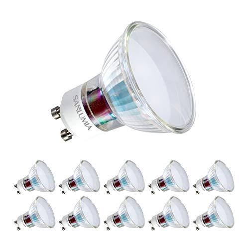 Sanlumia Lampadine LED GU10 5W, Equivalenti a Lampadine Alogene da 50 Watt, 400lm, Bianco Naturale Colore 4000K, Angolo del Fascio di 100 Gradi, Non-Dimmerabile, Confezione da 10