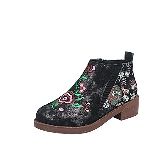 Womens Vintage Ankle Boots Ladies Flock Mesh Patchwork Slipper Boots Embroidery Floral Print Side Zipper Block Heel Platform Booties Casual Walking Hiking Shoes