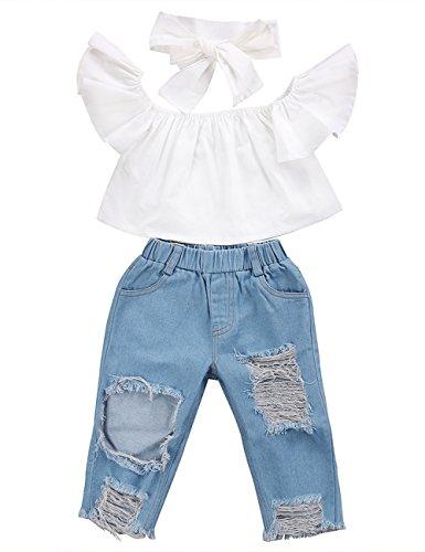 3pcs Baby Girls Kids Off Shoulder Lotus Leaf Top Holes Denim Jeans Headband Outfits Set (4-5Y, White)