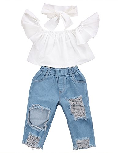 3pcs Baby Girls Kids Off Shoulder Lotus Leaf Top Holes Denim Jeans Headband Outfits Set (1-2Y, White)