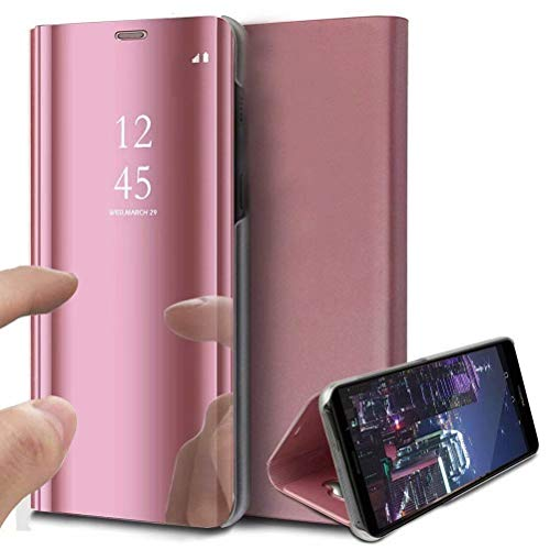 DOHUI für OppoFindX2Pro Hülle, Slim Spiegel PU Flip Handyhüllen Tasche Kratzfeste Magnetic Lederhülle Etui mit Standfunktion Schutzhülle für OppoFindX2Pro (Roségold)