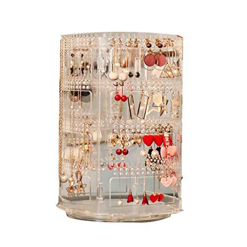 cosméticos caja para Pantalla pendientes Estante de almacenamiento giratoria de los pendientes del collar de la suspensión joyería de bastidor de gran capacidad transparente organizador de maquillaje
