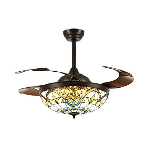 siljoy retráctil ventiladores de techo con mando a distancia y LED de intensidad regulable luces transparente acrílico hoja de estilo mediterráneo pulgadas ventilador lámpara de araña