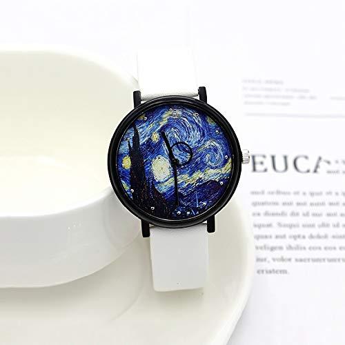 CXJC Reloj de cuarzo multifuncional impermeable de la personalidad del concepto, reloj deportivo for estudiantes de secundaria y secundaria, reloj mecánico con patrón de cielo estrellado de van Gogh