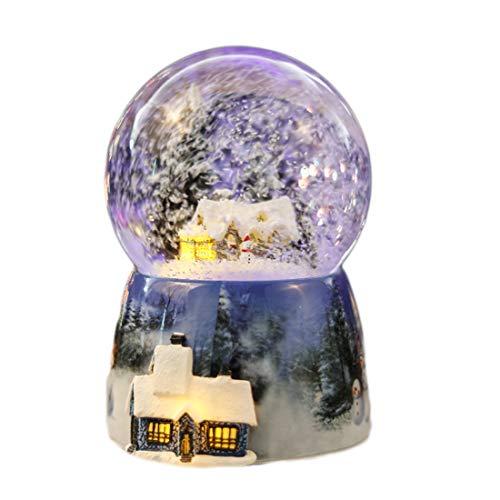 BOEHNER Flocon de Neige créatif Maison de No?l Boule de Cristal BO?Te à Musique, Cadeau d'anniversaire de BO?Te de BO?Te d'octave de No?l, Cadeau de Saint Valentin pour Enfants Music Plus Color Light