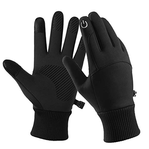Gants de Cyclisme d'hiver imperméables Thermiques pour Hommes Femmes adaptés aux Sports Course à Pied Conduite randonnée Escalade Gants Chauds - Noir, L, A1