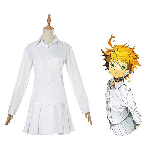 EDMKO The Promised Neverland Cosplay Outfit Emma Costume School Uniforme Shirt Gonna Anime Set Completo di Vestito Camicia per Donna,M