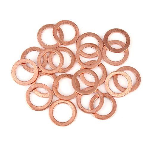 X AUTOHAUX 20Stk. Kupfer Unterlegscheibe Flachdichtung Ring für Auto 14 x 20 x 1,5 mm