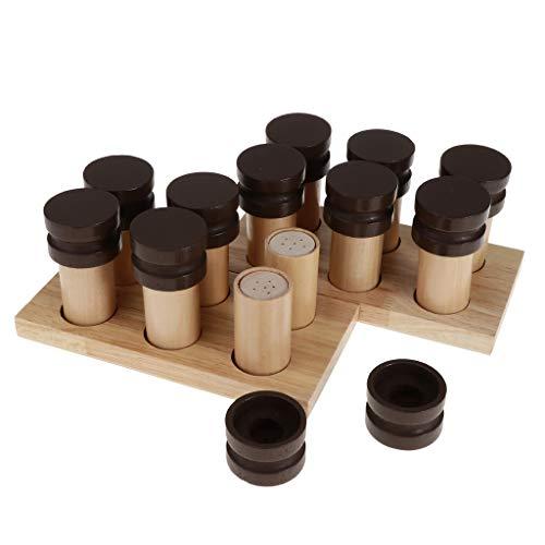Desconocido Juegos de Montessori Caja de Soporte Material Sensorial Fragancia con Olor Cilindro Botella Madera