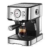 Cafetera, Cafetera Espresso 20 Bares Capacidad 1.5L, 1050 W, Espumador De Leche para Cappuccino Y Doble Removible, Plata