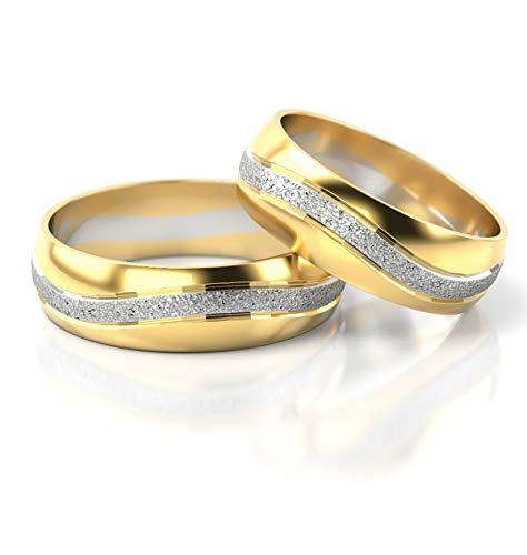 JC Gold Trauringe - Gelbgold Weißgold Eheringe Bicolor inklusive Stein und Gravur im Paarpreis PL116 (18 Karat (750) Bicolor)