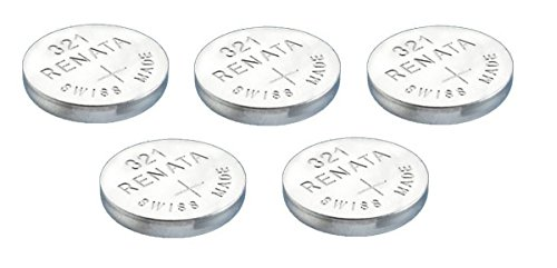 5 x Renata 321 Knopfzellen / Uhrenbatterien Swiss Made, Silberoxid, SR616SW, 1,5 V, auch bekannt als