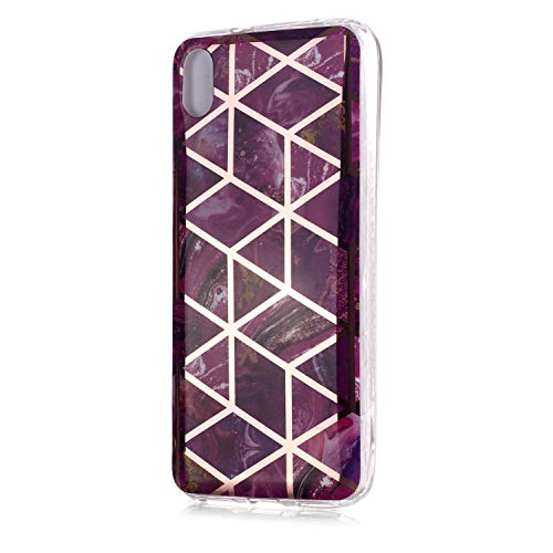 Fatcatparadise für Xiaomi Redmi 7A Hülle + Displayschutz, Galvanisiert Marmor Weich Silikon Handyhülle Schlank Flexible TPU Bumper Handytasche Gummi Dünn Abdeckung Schutzhülle (Lila)