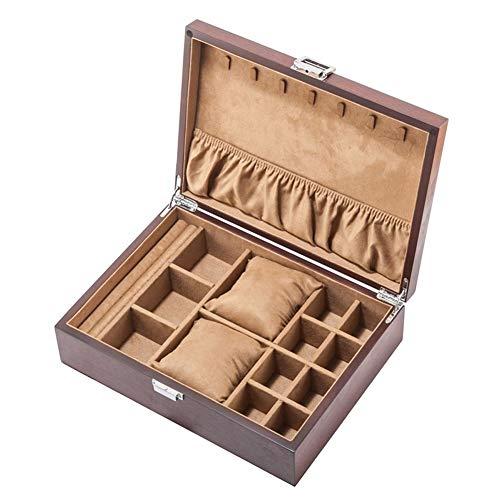 EIU Jewelry Box 2 Horloge Case Effen Hout Sieraden Doos voor Vrouwen/Man Sieraden Organizer Doos Display Opbergdoos 2 Kleuren W04/10